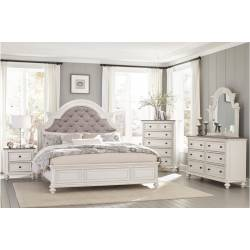 1624KW-CKGr Baylesford California King Bedroom Set - Antique White Rub-Through Finish