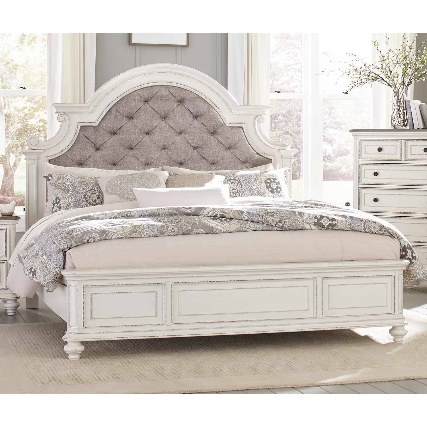 1624KW 1CK Baylesford California King Bed Antique White Rub Through Finish