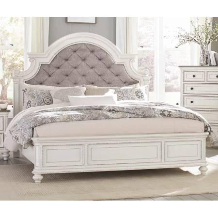 1624KW-1CK Baylesford California King Bed - Antique White Rub-Through Finish