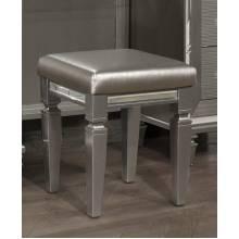 1616-14 Tamsin Vanity Stool - Silver-Gray Metallic
