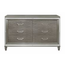 1616-5 Tamsin Dresser with 2 Hidden Jewelry Boxes - Silver-Gray Metallic