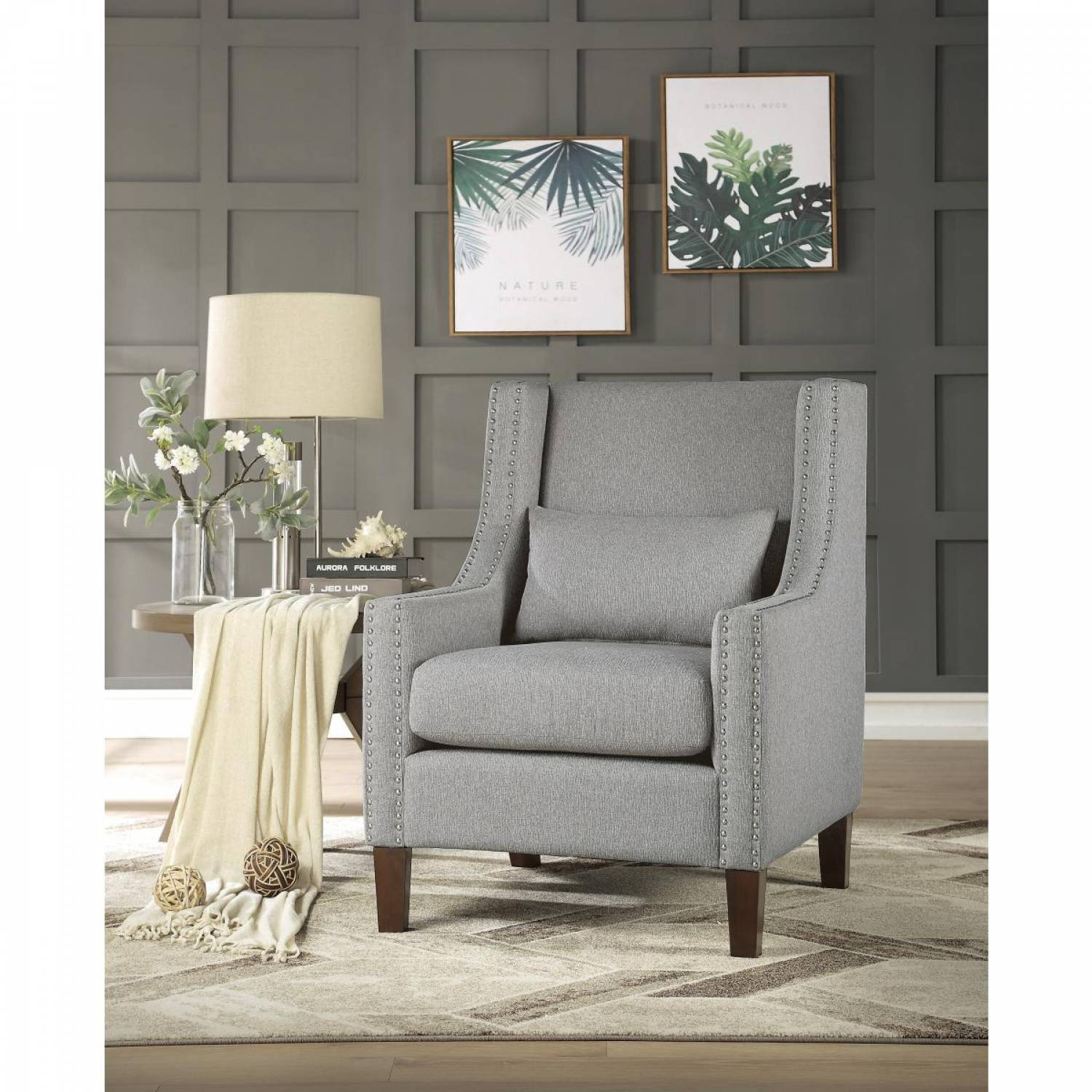 Pleasing 1114Gy 1 Accent Chair W Kidney Pillow Light Gray 100 Polyester Pdpeps Interior Chair Design Pdpepsorg