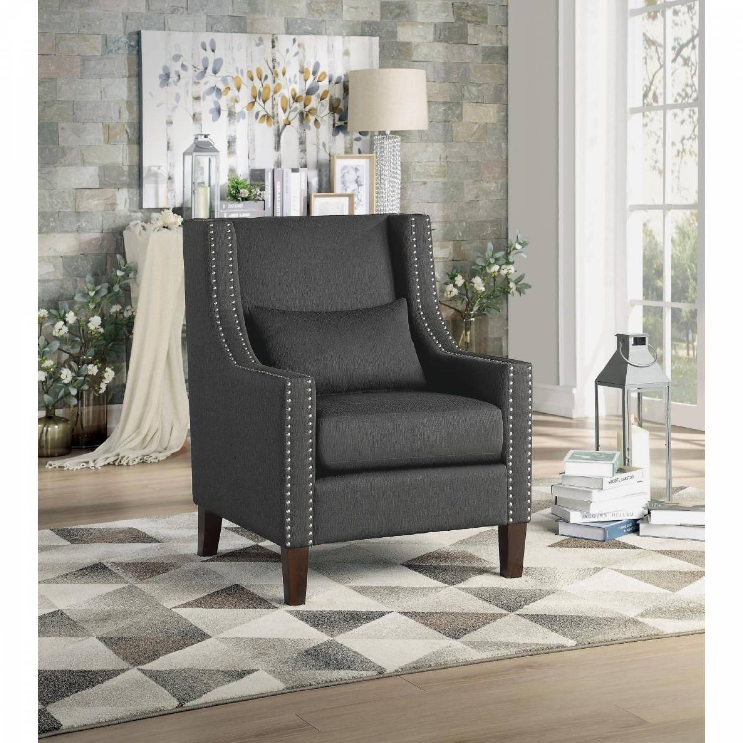 Phenomenal 1114Dg 1 Accent Chair W Kidney Pillow Dark Gray 100 Polyester Pdpeps Interior Chair Design Pdpepsorg