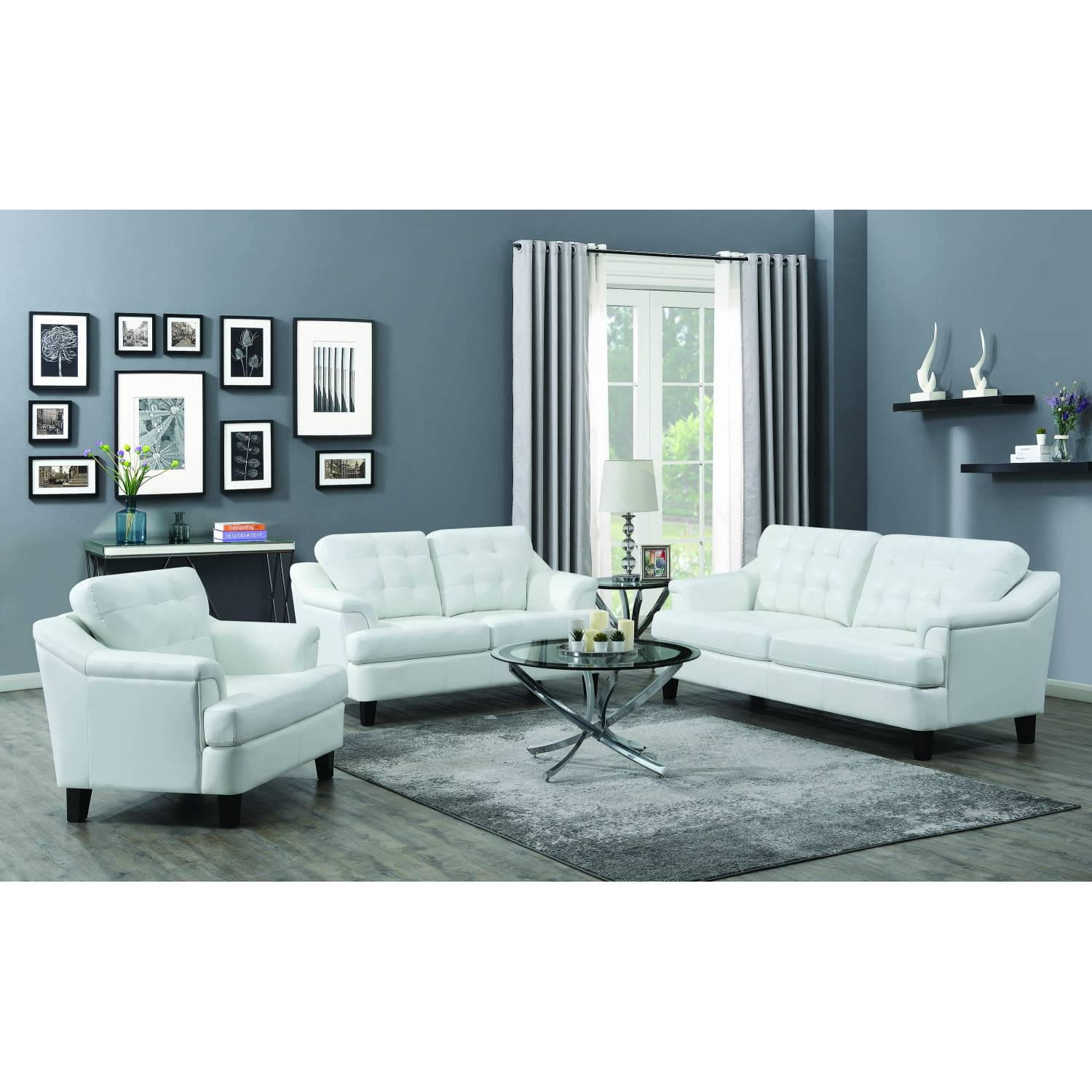 508634-S3 Freeport 3-Piece Living Room Set Snow White Black