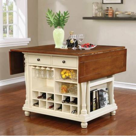102271 Slater Country Cherry And White Kitchen Island