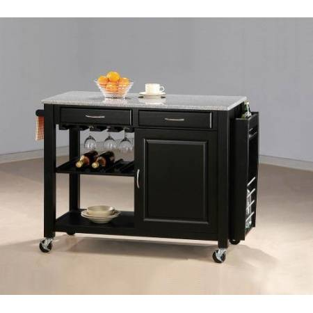 5870 Black Kitchen Cart With Granite Top