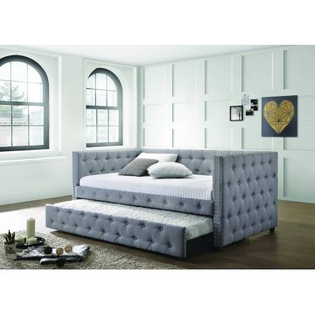 302161 Mockern Upholstered Daybed With Trundle Light Grey