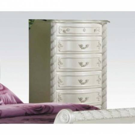01016 PEARL WH 5-DRAWER CHEST