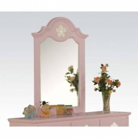 00740 PINK W/WH FLOWER MIRROR