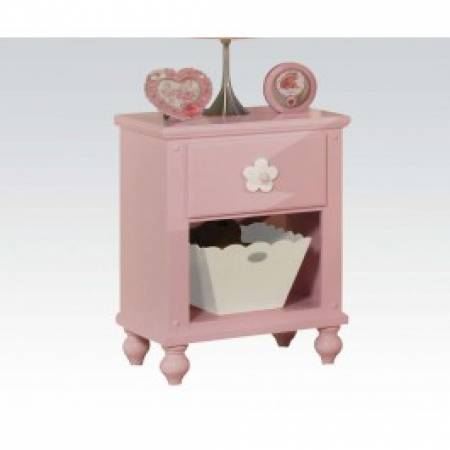 00739 PINK W/WH FLOWER NIGHTSTAND