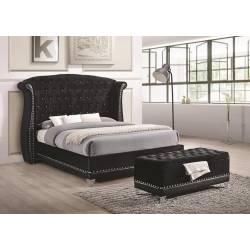 Barzini Black Upholstered King Four-Piece Bedroom 300643KE-S4