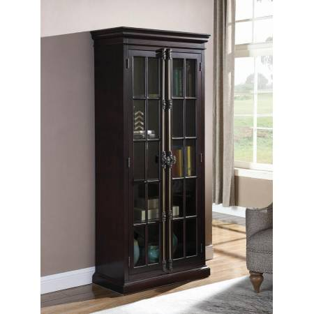 2-Door Tall Cabinet Cappuccino And Clear 910197