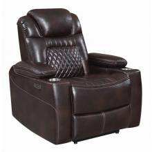 Korbach Upholstered Power^2 Lay-Flat Recliner Espresso 603413PP