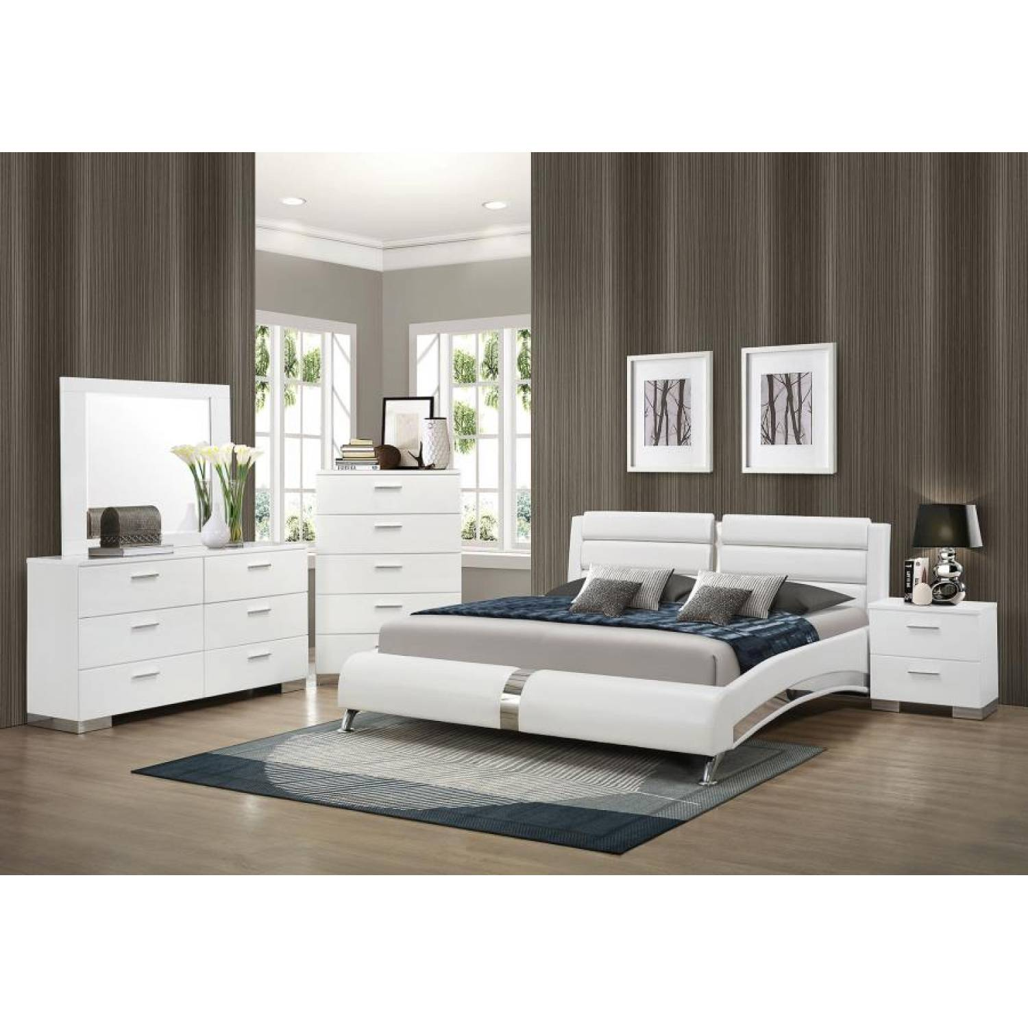 Felicity Contemporary White Upholstered Queen Bed BEDROOM 5PC SET  (KE.BED,NS,DR,MR) 300345Q-S4