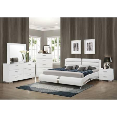 Felicity Contemporary White Upholstered Queen Bed BEDROOM 5PC SET 300345Q-S5