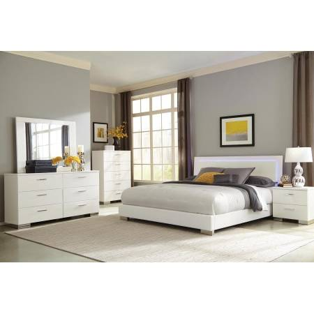 Felicity Contemporary White and High Gloss California King Four-Piece Set 203500KW-S4