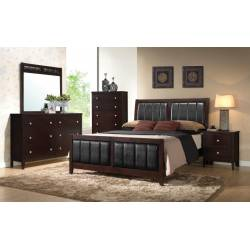 Carlton Cappuccino Upholstered California King Four-Piece Bedroom Set 202091KW-S4