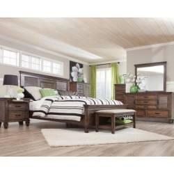 Franco Burnished Oak California King Five-Piece Bedroom Set 200971KW-S5