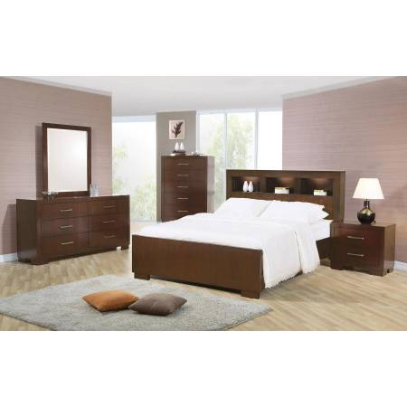 Jessica Dark Cappuccino California King Five-Piece Bedroom Set With Storage Bed 200719KW-S5