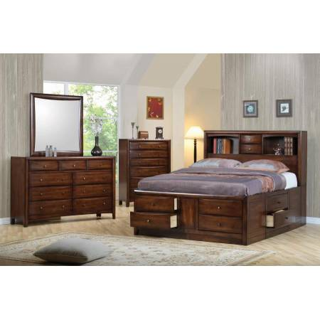 Hillary and Scottsdale Queen Bookcase Bed 5 Piece Set (Q.BED,NS,DR,MR,CH) 200609Q-S5