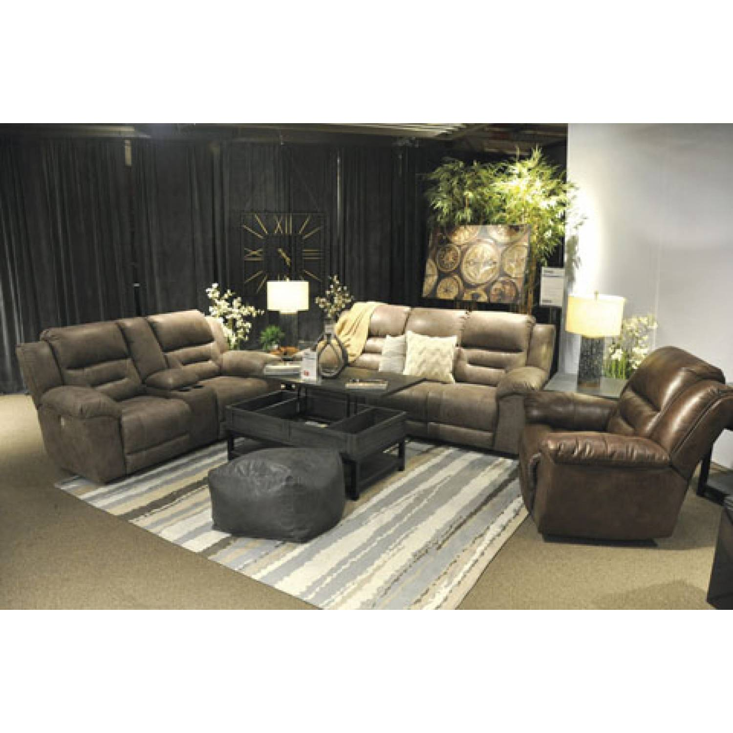 39905 Stoneland 3PC SETS Reclining Sofa + DBL REC Loveseat w/Console +  Rocker Recliner