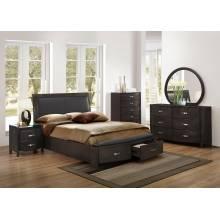 Lyric Upholstered Sleigh Platform Storage California King Bedroom Set - Brownish Grey