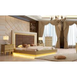 HD-918-CK-4PC 4PC SETS California King Bed + Nightstand + Dresser + Mirror