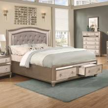 204180Q Bling Game Upholstered Queen Bed with Storage Footboard