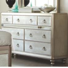 204183 Bling Game Dresser with 7 Drawers and Stacked Bun Feet
