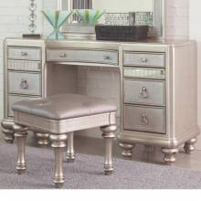 204187 Bling Game Vanity Desk with 7 Drawers and Stacked Bun Feet