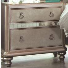 204182 Bling Game Nightstand with 2 Drawers and Stacked Bun Feet