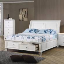 400239T Sandy Beach Twin Sleigh Bed with Footboard Storage