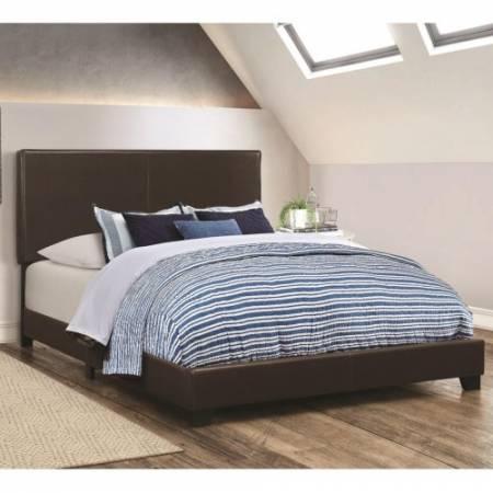 300762F Dorian Brown Upholstered Leatherette Full Bed