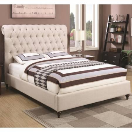 300525F Devon Full Upholstered Bed in Beige Fabric