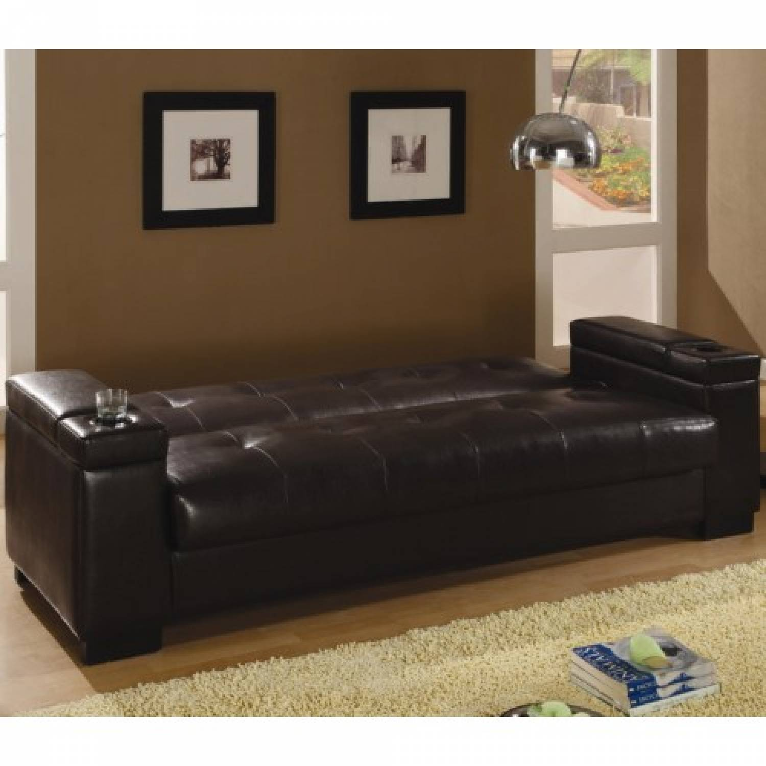 300143 Sofa Beds and Futons Faux Leather Convertible Sofa Sleeper with  Storage