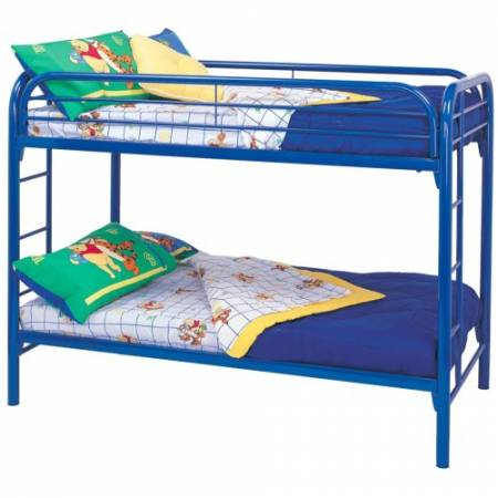 2256B Metal Beds Twin Over Twin Bunk Bed with Built-In Ladders