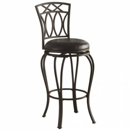 """122060 Dining Chairs and Bar Stools 29"""" Elegant Metal Barstool with Black Faux Leather Seat"""