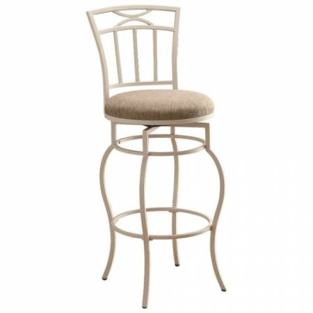 """122050 Dining Chairs and Bar Stools 29"""" White Metal Barstool with Upholstered Seat"""