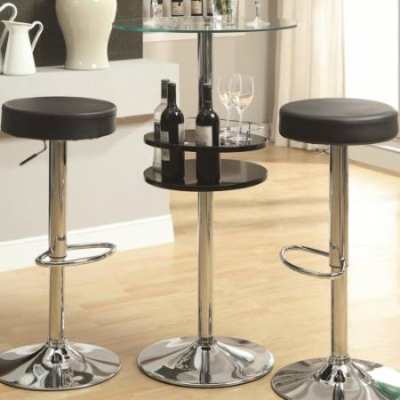 120715 Bar Units and Bar Tables Black Bar Table with Tempered Glass Top and Storage