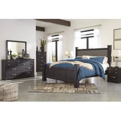 B555 Reylow 4PC SETS King UPH Poster Bed