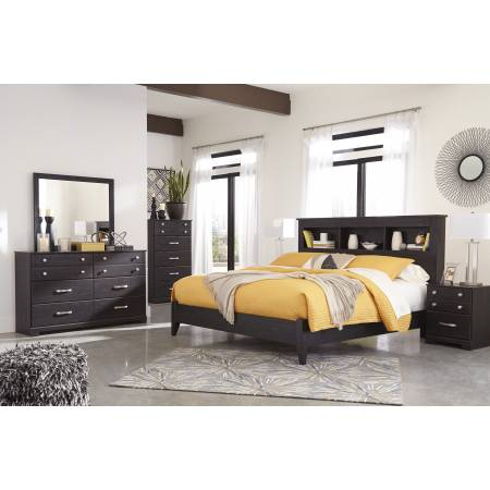 B555 Reylow 4PC SETS King Bookcase Panel Bed