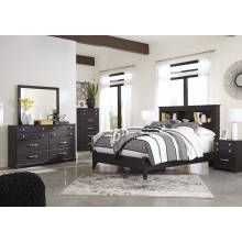 B555 Reylow 4PC SETS Queen Bookcase Panel Bed