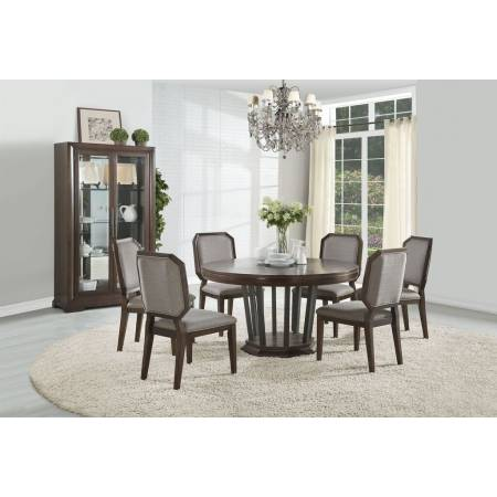 64085+64092*6 7PC SETS ROUND DINING TABLE + 6 SIDE CHAIRS