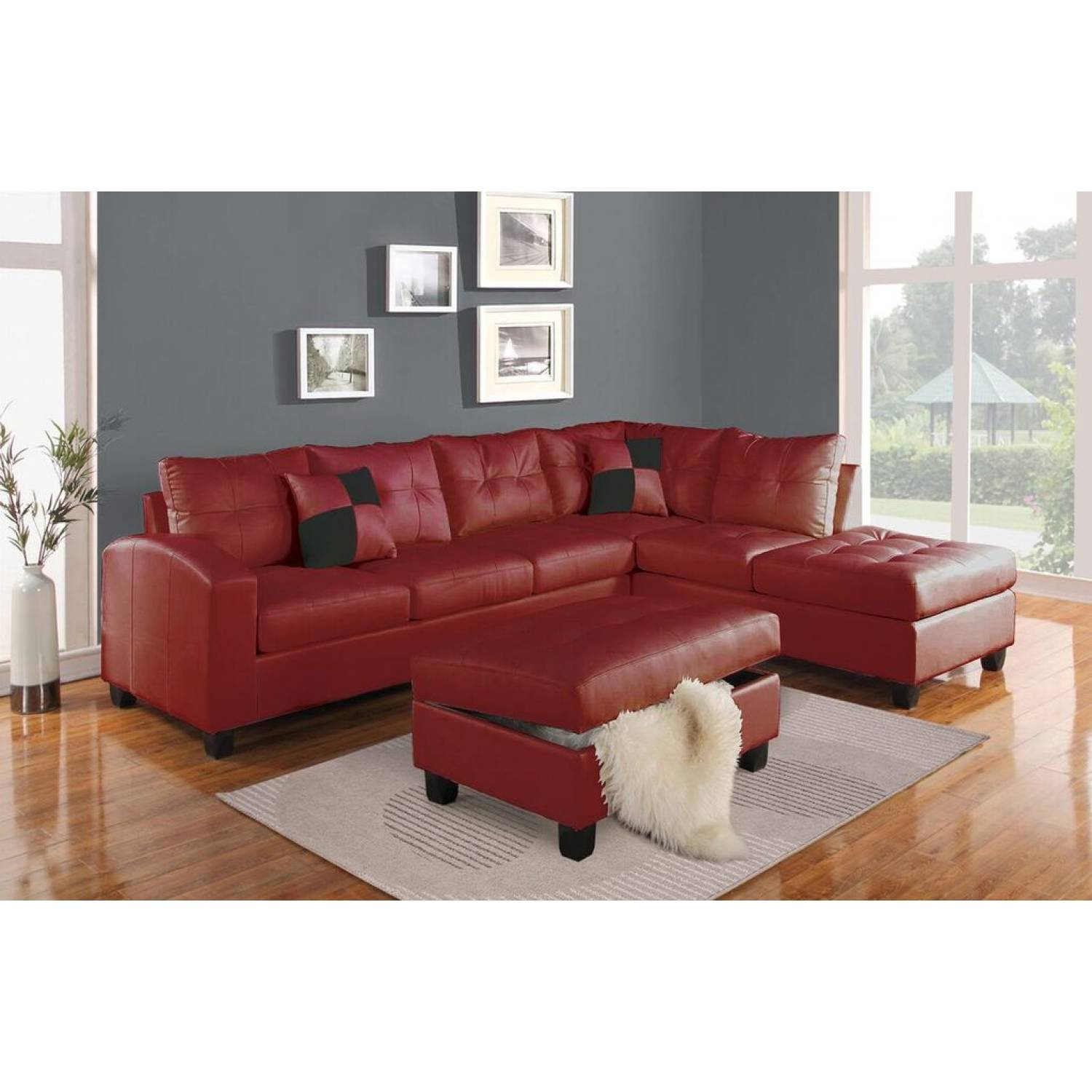 51185 KIVA RED SECTIONAL SOFA