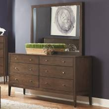 Lompoc 6 Drawer Dresser and Mirror Combo in Ash Brown Finish 204563+4