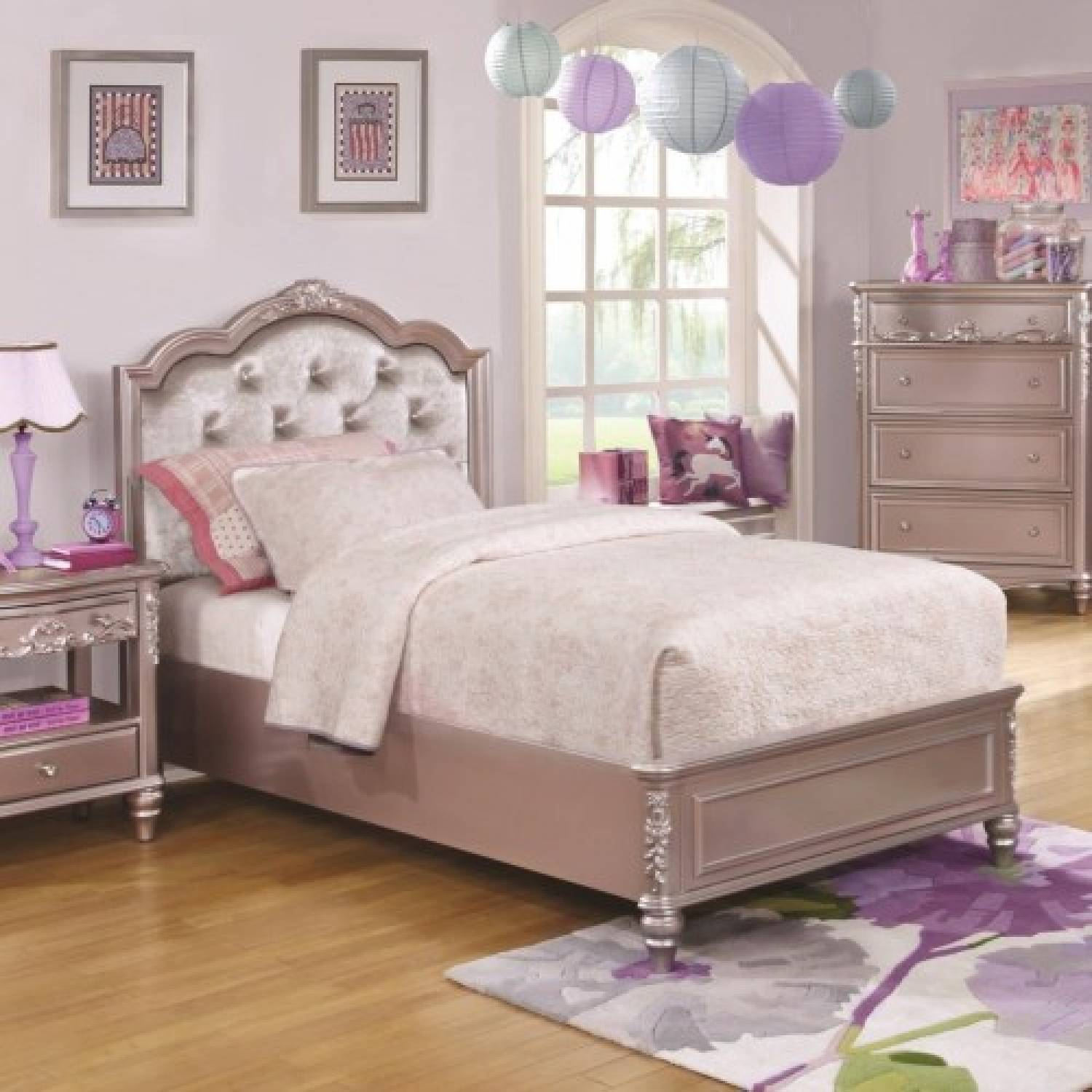 400890f Caroline Full Size Bed With Diamond Tufted Headboard