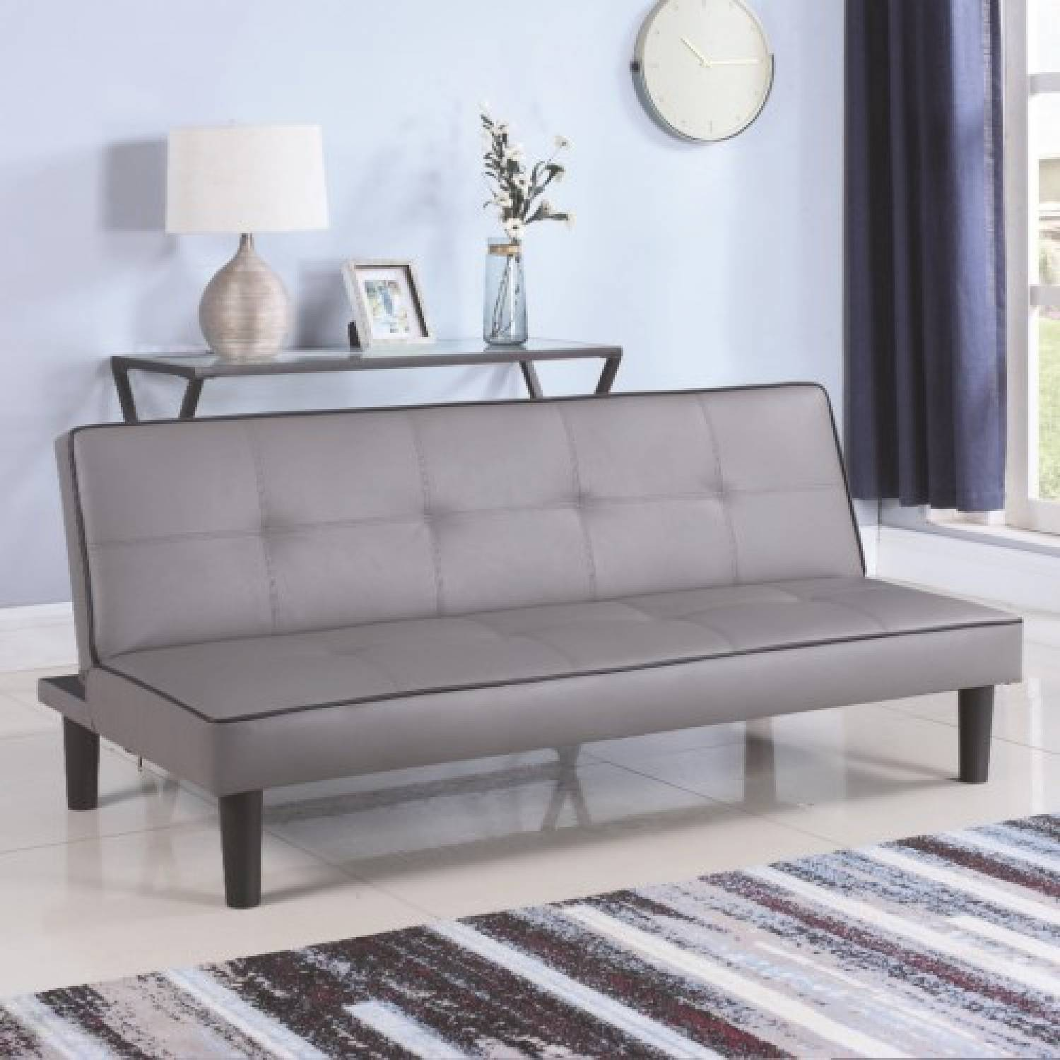 Futons Leatherette Sofa Bed Piping