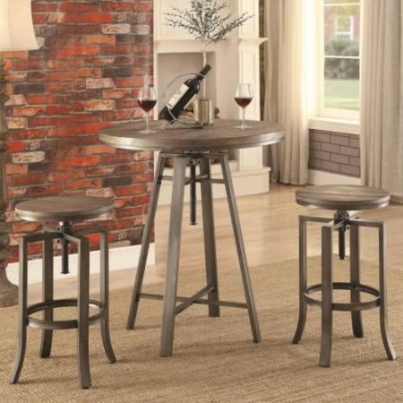 10181 Three Piece Adjustable Height Pub Table and Stool Set