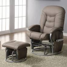 600228 Recliners with Ottomans Casual Leatherette Glider Recliner with Matching Ottoman