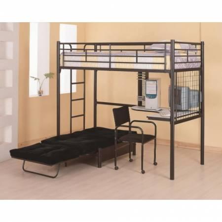 2209+2335M Bunks Twin Loft Bunk Bed with Futon Chair & Desk